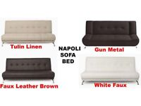 Brand New Napoli Deluxe Fold Down Function Faux Leather Fabric Sofa Bed With Chrome Legs - 4 Colours