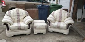 3 pce cream suite including footstool. Good condition. £150