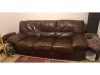 Free three seater chocolate brown leather sofa