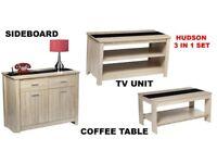 Brand New 2 Piece Living Room Sideboard with 2 Shelf & TV Unit Set - Oak Effect