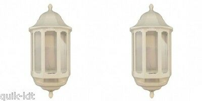 2 x ASD HL/WK060P Half Lantern Wall Light Fittings with PIR Sensor - White