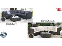 Brand New Last Minute Deals! Corner Rattan Lounge Garden Conservatory Large Sofa Black/Brown