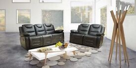 ***SAN DIEGO BLACK NEW LEATHER RECLINER SOFAS***