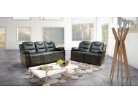 ***SAN DIEGO BLACK NEW LEATHER RECLINER SOFAS FREE DELIVERY***