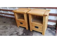 Pair of Solid Oak Bedside Drawers / Tables from Oak Furnitureland (Delivery Available)