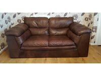 Brown Natural Leather Sofas 2 & 3seaters + a Pouf With Storage