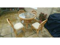 Wicker table and 4 chairs