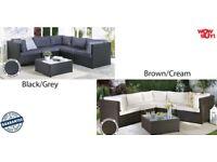 Brand New Corner Rattan Lounge Garden PATIO Conservatory Large Sofa SET Black/Grey Brown Cream