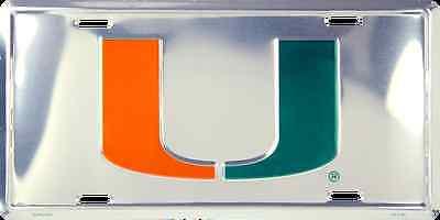 MIAMI HURRICANES CAR TRUCK TAG CHROME LICENSE PLATE METAL SIGN UNIVERSITY (Miami Hurricanes Metal)