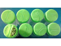 18 New Green Coloured Lid Refillable Clear Glass Spices Herbs Jars Holders.