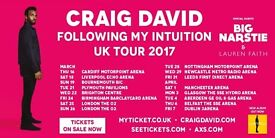 4x Craig David standing tickets, Manchester Arena, Saturday 1st April 2017