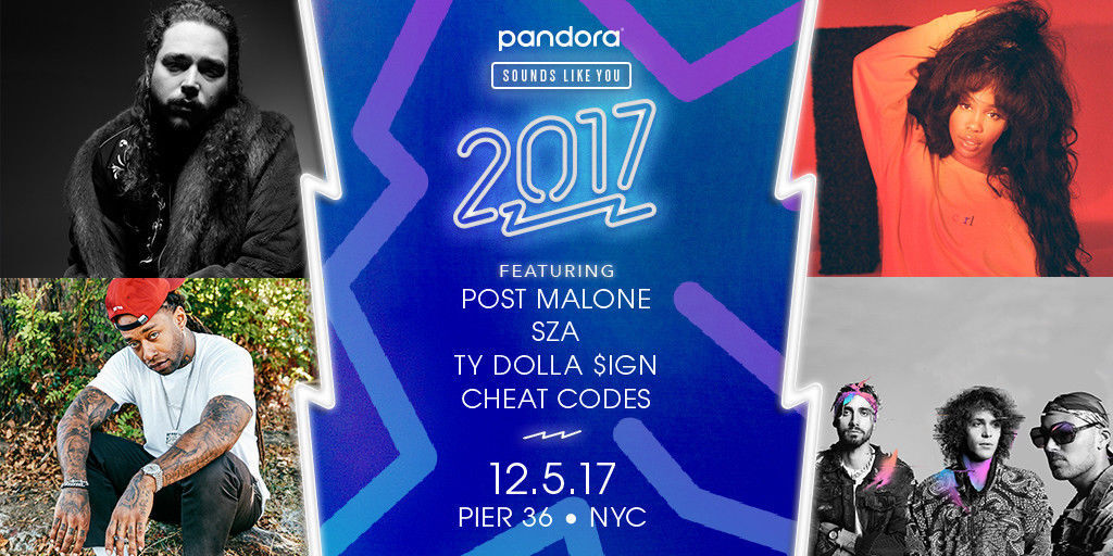 Pandora Sounds Like You 2017 (Post Malone, SZA, TY DOLLA $IGN) PIER 36 NYC