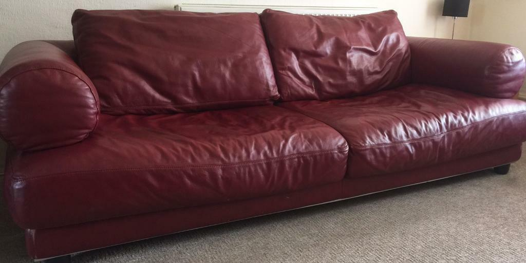 2 Natuzzi Italian Red Leather Sofas For Sale In Stockport - Red-italian-leather-armchairs-from-natuzzi