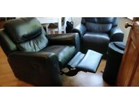 Two leather Armchair with footrest