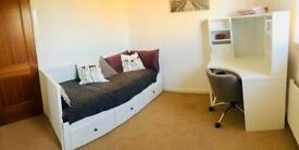 Bed, 2 mattresses, desk and desk chair - can sell separately