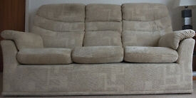 "G Plan ""Malvern"" 3 piece suite – 3 seat sofa, armchair and footstool."