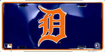 Detroit Tigers Metal - DETROIT TIGERS CAR TRUCK TAG LICENSE PLATE BLUE W/ ORANGE D EMBOSSED METAL SIGN