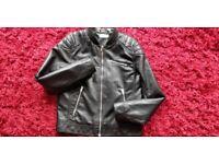 Black boy's faux leather jacket