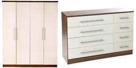 Brand New Melbourne 2 Piece Bedroom High Gloss 4 Door Wardrobe + Drawer & Chest Set Cream/Walnut