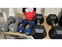 Dumbells and kettle bell