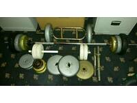 Weights, dumbells, Tricep Bar and barbell
