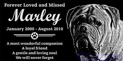 Personalized Bullmastiff Dog Pet Memorial 12x6 Granite Grave Marker Headstone