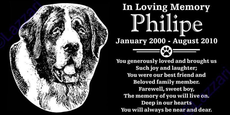 Personalized St Saint Bernard Dog Pet Memorial 12x6 Granite Grave Marker
