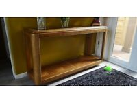 Console table, inlaid wood etc