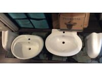 ***REDUCED Two White Large Washbasin & Seperate Pedestal Sets take both For £50..Need space...