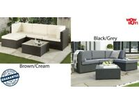 Brand new! Rattan Corner Sofa Coffee table Conservatory Garden Furniture Outdoor Set Brown or Black