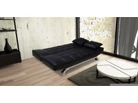 Vegas Luxury Sofa Bed In Bonded Leather (2 Free Matching Pillows & Chrome Feet)