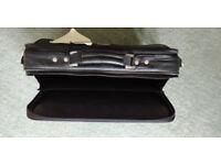 Antler black leather laptop bag - new