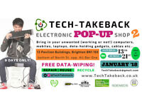 TECH-TAKEBACK pop up shop 2 (free electronic data-wiping, reuse/recycling)