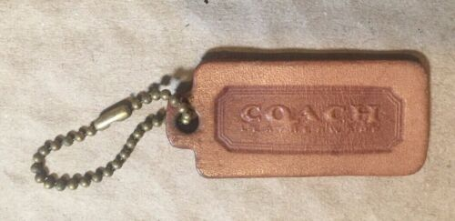 Coach Embossed Leather Luggage Tag Tan Key Chain Id