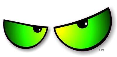 Par de Enojada Evil Eyes Ojos Verde Vinilo Coche Moto Adhesivo para...