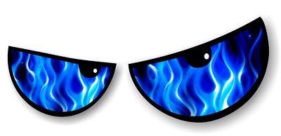 Par de Enojada Evil Eyes Ojos Azul Llamas Coche Moto Adhesivo para...