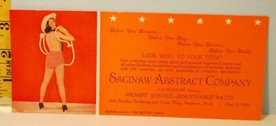"""1943 Saginaw Abstract Co. Pinup """"Want to Be Tied Up"""" Go Gettin Gals Ser. 43-AC1"""