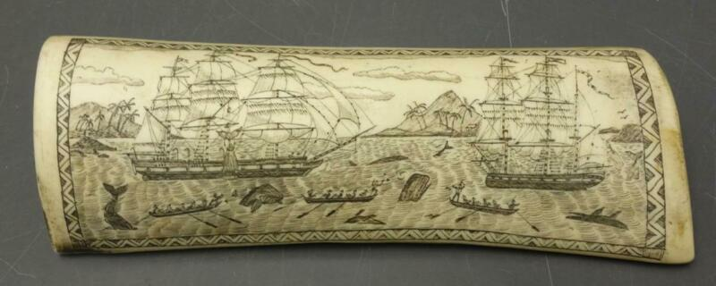 "Antique Maritime Resin Scrimshaw ""THE WHALER INDIAN OFF TAHITI"" 8""L"