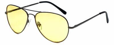 Calabria 1121 Night Driving Aviator Sunglasses w/ Yellow Tint Anti-Glare (Sunglasses Yellow Tint)