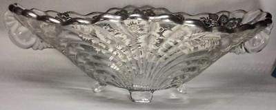 Vtg Art Deco crystal Centerpiece fruit Bowl Sterling Silver Overlay MCM floral