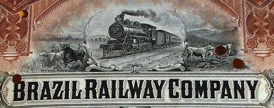 Brazil Railway Cp USA conv. bond 1912 Brasilien Eisenbahn Dampflokomotive Rinder