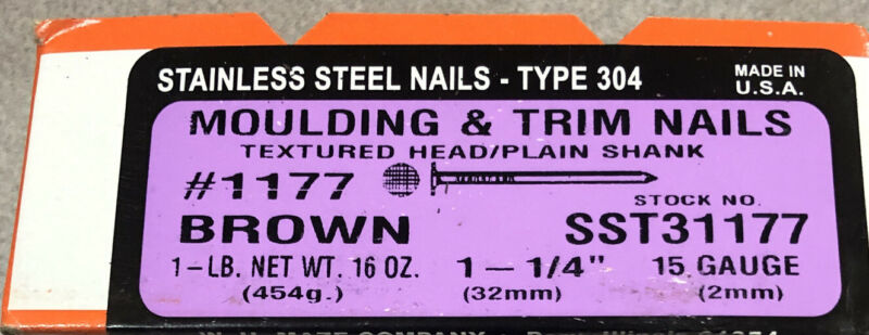 """Maze Nails  BROWN  1-1/4"""" Trim  Nails Smooth  304 Stainless Steel  15 Ga. 1 lb."""