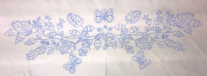 """Janlynn Stamped Cross Stitch Embroidery Pillow Case Butterfly Flower 30"""" X 20"""""""