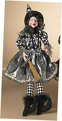 Sitting Witch 21-Inch Doll Figurine in Metallic Dress with Broom - Silver