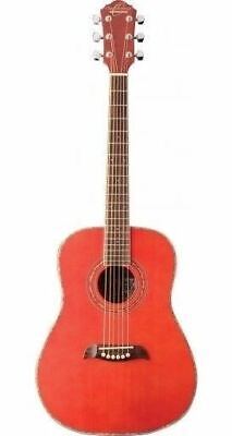 Oscar Schmidt OGHSTR-A Trans Red 1/2 Size Acoustic Guitar with Select Spruce Top