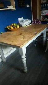 solid farmhouse dining table and chairs for sale
