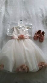 Matalan 9-12 Month baby girl flower girl dress and sandals.
