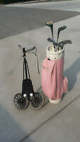 Half Set of Golf Clubs, Bag and Cart