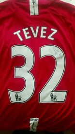Signed Tevez Man Utd shirt with COA