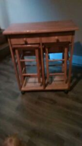 small folding table/counter top with stools